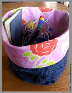 How to sew material basket. Photo tutorial.