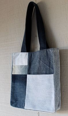 Denim Front Pocket Patch Tote with Navy Blue and by AllintheJeans