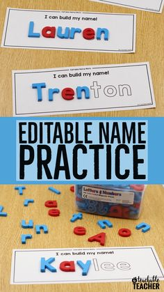 Create custom magnetic letter name mats with these editable magnetic letter mats! Perfect name practice as students use magnetic letters to build their name over the mat. | magnetic name board | learn my name activities | learning names in kindergarten |