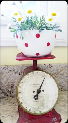 Vintage scale...with sweet dotted bowl of flowers! ~ Cottage style