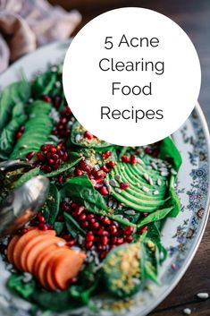 5 acne clearing food recipes to help you heal breakouts from the inside, out! Heal acne naturally with food, with Jill Therese at Heal Your Face With Food! Best Foods For Skin, Foods For Clear Skin, Clear Skin Detox, Acne Clearing Foods, Food For Acne, Coconut Oil For Acne, Skin Food, Healthy Dinner Recipes, Tips