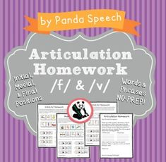 Articulation Homework for /f/ & /v/ I made this quick and easy to use homework sheet to send home with  students for continued practice. Included in this download: Parent Letter Initial f/v homework (words and phrases) Medial f/v  homework (words and phrases) Final f/v (words and phrases)Each page has 10 word targets and 6 phrase level targets!