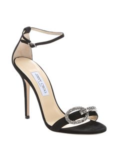 f0d42f9c067f Jimmy Choo Black Suede  tamsyn 110  Crystal Buckle Sandals Frock For Women