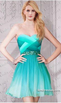 Super chic beaded multi tonal ombre crisscross short chiffon dress Blue Dresses Green Dresses Multi-Color Dresses