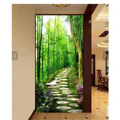 21.20$  Buy now - http://aliwom.shopchina.info/go.php?t=32697835236 - wall paper 3d art mural HD bamboo forest green stone road covering Home Decor Modern Wall Painting For Living Room wallpaper  #aliexpresschina