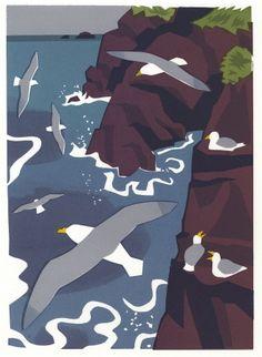 Carry Akroyd Lino Prints, Art Prints, Seaside Theme, Shorebirds, Bird Illustration, Bird Drawings, Bird Pictures, Sea Birds, Wildlife Art