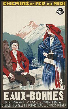 Vintage Railway Travel Poster - Eaux-Bonnes - Vallée d'Ossau - Basse Pyrénées.