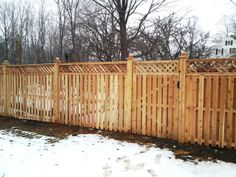 Semi Privacy Shadowboard Wood Fence with Diagonal Lattice Topper