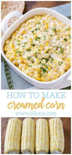 A smooth and creamy side dish filled with cream, butter and cheese. This creamed corn is also a perfect side dish for holiday meals. Side Dish Recipes, Vegetable Recipes, Vegetarian Recipes, Cooking Recipes, Corn Dishes, Vegetable Side Dishes, Holiday Meals, Holiday Recipes, Creamed Corn Recipes