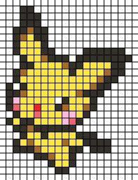 Pichu hama perler beads (or use pattern to cross stitch Pikachu!)