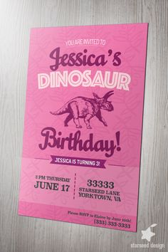 Girl dinosaur birthday party invitations set of 12 little girl girl dinosaur birthday party invitation invite pink for girls boys diy printable print download kids card filmwisefo