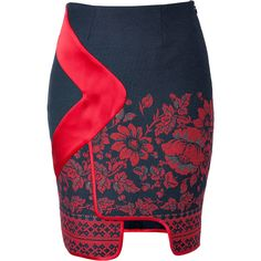 PRABAL GURUNG Piped Border Panel Skirt in Red Floral Print ($388) ❤ liked on Polyvore featuring skirts, bottoms, saias, red, floral knee length skirt, red pencil skirt, red skirt, blue floral skirt and floral print skirt