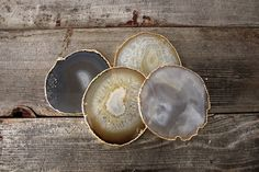 Set of Four Gold Rimmed Agate Coasters by Heritage 1956 $115