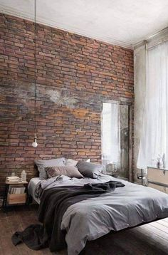 Brick Accent Wall in Industrial Style Bedroom Design Red Brick Wallpaper Bedroom, Brick Wall Bedroom, Brick Walls, Red Wallpaper, Wallpaper Ideas, Red Walls, Brick Wallpaper Apartment, Modern Bedroom Furniture, Home Decor Bedroom