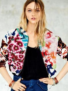 Free People Floral Explosion Bomber Jacket