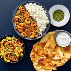 Recipe: Indian Shrimp & Mustard Seed Rice with Roasted Vegetables & Toasted Garlic Naan - Blue Apron