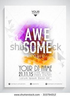 Colorful Abstract Design Decorated Flyer Template Or Banner With