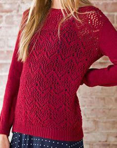 Free Knitting Pattern for Winifred Lace Pullover - Long-sleeved pullover sweater features a chevron lace stitch. Sizes 30 (34-38-42-46-50). Designed by Amy Christoffers for Berroco.