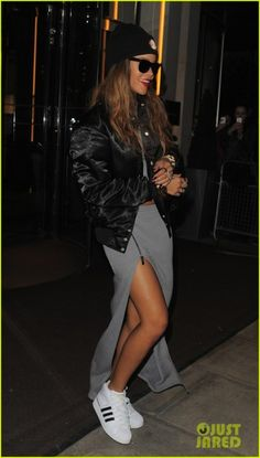 Rihanna wearing adidas Originals Pro Model