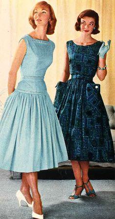 1958 ladies dress fashions.