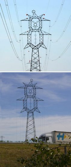 Funny clown-shaped high-voltage electric tower