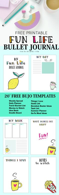 Grab these awesome bullet journal printables, Bujo lovers! There are 20+ bullet journal templates to love here! #bulletjournal #bulletjournaling #planner #shiningmomprintables