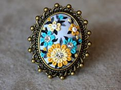 Gorgeous Polymer Clay Applique Statement Ring by charancreations