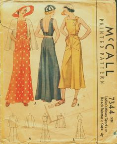 Vintage Sewing Pattern McCall #7344
