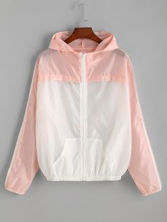 Pink Contrast Hooded Zipper Jacket Mobile Site