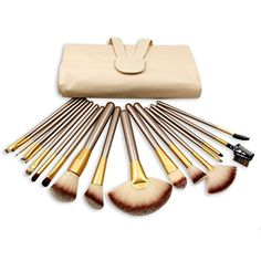 eNilecor18Piece Makeup Brushes Set Synthetic/Horse Hair Brush Set Professional Natural Cosmetic Kabuki Highlighter Fan Foundation Blush Concealer Eyeliner Face Powder Kit with Case Bag(Gloden 18PCS) >>> Find out more about the great product at the image link. (This is an affiliate link) #ToolsAccessories