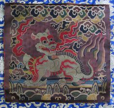 Antique Very Old Pure Silk Snow Lion Altar Wall Hanging, Nepal
