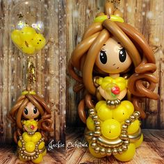 Belle by With a Twist Balloons Balloon Face, Balloon Toys, Balloon Shop, Balloon Crafts, Balloon Animals, Ballon Decorations, Birthday Decorations, Disney Princess Birthday Party, Princess Theme