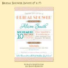 Custom Modern Vintage Retro Bridal / Baby Shower Party Invitation Invite Digital Design - Chevron / Typography / Old Fashioned - Printable. $18.00, via Etsy.