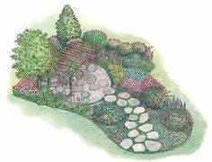 Secluded circular patio sheltered by trees and pergola (Eplans Code HWEPL11493).