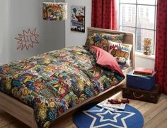 Buy Super Hero Comic Book Cotton Rich Print Bed Set from the Next UK online shop
