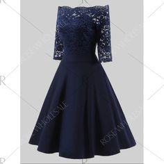 Plus Size Lace Off Shoulder Vintage Dress