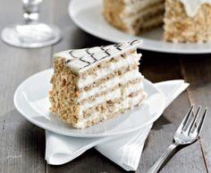 Recept na: Ořechový dort Esterhazy. Kvaření potřebujete především 100 g bílé čokolády, 50 g hořké čokolády, 70 g Hera máslová příchuť, 100 g bílé čokolády. Příprava pokrmu vám zabere 60 minut minut.