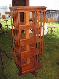 oak 'Danner' revolving bookcase in original finish shows signs of normal wear, structurally sound and rotates normally. From early Antique Decor, Antique Furniture, Revolving Bookcase, Arts And Crafts Furniture, Book Racks, Cabinets, Journey, Collections, Outdoor Structures