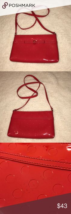 Kate Spade Red Patent Leather Crossbody Kate Spade Red Patent Leather Crossbody. Small spot that is only noticeable when pointed out. Picture added. kate spade Bags Crossbody Bags