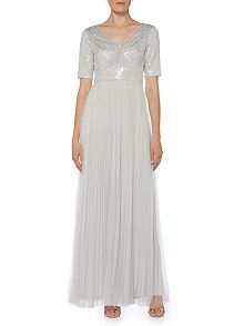 High Street Wedding Dress Short sleeve V neck gown with tulle skirt, Adrianna Papell, House of Fraser High Street Wedding Dresses, Wedding Dress Shopping, Best Wedding Dresses, Buy Cosmetics Online, House Of Fraser, House Dress, Luxury Beauty, Face And Body, Tulle
