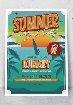 Summer Beach Poster Template AI, EPS