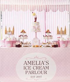 pink-white-ice-cream-parlour...in a different colour scheme, would be perfect for a preppy bridal shower!
