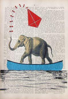 FLY A KITE art print poster art elephant ocean sea by artretro
