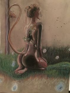Huldra pastel drawing