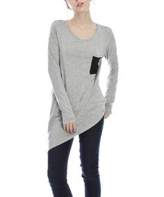 Another great find on #zulily! Heather Gray & Black Pocket Asymmetrical Tunic by First Feeling #zulilyfinds