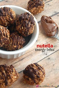 Kids Kitchen: Nutella Energy Bites - a no-bake cookie ball recipe that is surprisingly easy and healthy (minus the small amount of Nutella) An easy on-the-go snack, or kids' lunch box idea!