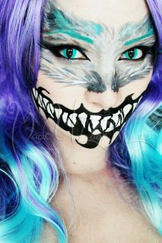 This chick does her own make up like this! No lie! Face Paint Makeup, Sfx Makeup, Cosplay Makeup, Costume Makeup, Makeup Art, Makeup Ideas, Cheshire Cat Makeup, Cheshire Cat Costume, Chesire Cat