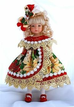 """Pointsettias for The Holidays for 13"""" Effner Little Darling by Sharon 