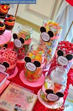 Choose Mickey Mouse theme Candy Buffet Table today!   Check out below ideas..      Inspired from Catchmyparty    ideas from  disneydonnak...