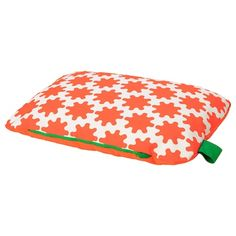 IKEA - LURVIG, Cushion, orange, white, The fabric is water-resistant and hair or fur won't stick to it. Easy to keep clean since the cover is removable and machine washable. Easy to carry since the cushion has a handle. For cats and dogs.
